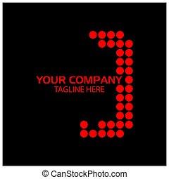 j, ベクトル, design., ロゴ, 手紙, 赤, テンプレート