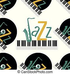 j, 単語, jazz., elements., pattern., concept., ジャズ, -, seamless, レコード, 背景, saxophone., 黒, おおわれる, 手紙, キーボード, 緑, ピアノ, 黄土色, 白, ビニール