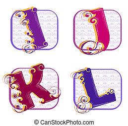 j, alphabet, k, l, je