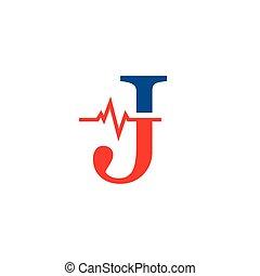 j, cardiogramme, vecteur, logo, initiale, lettre