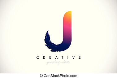 J Feather Letter Logo Icon Design With Feather Feathers Creative Look Vector Illustration