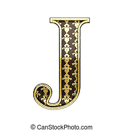 j golden letter 3d illustration