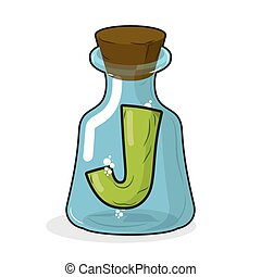 J in retro laboratory flask bottle. Letter in old magic potion bottle with wooden stopper. Bottle for scientific research and experimentation. Vector illustration