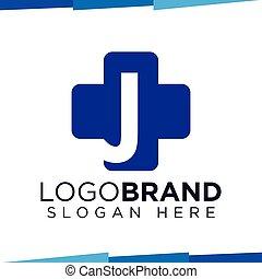 J Initial Letter cross medical logo vector template