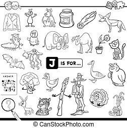 Black and White Cartoon Illustration of Finding Picture Starting with Letter J Educational Game Workbook for Children Coloring Book