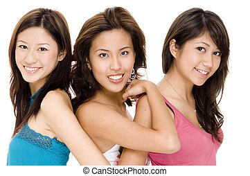 J, J and G #3 - Three attractive young asian women in casual...