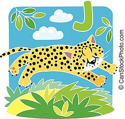 j, jaguar., peu, guépard, ou, alphabet