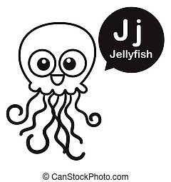 J Jellyfish Cartoon And Alphabet For Children To Learning Coloring Page Vector Illustration Eps10