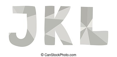 J, k, l low poly wrapping surface pastel grey alphabet letter vector set isolated on white background