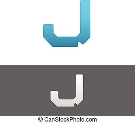 J Letter Alphabet Abstract vector text logo