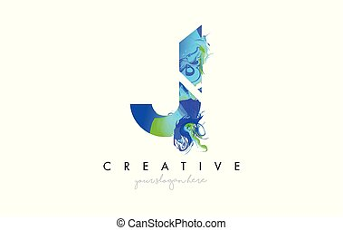 J Letter Icon Design Logo With Creative Artistic Ink Painting Flow in Blue Green Colors