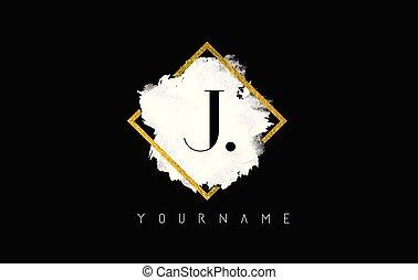 J Letter Logo Design with White Stroke and Golden Frame.