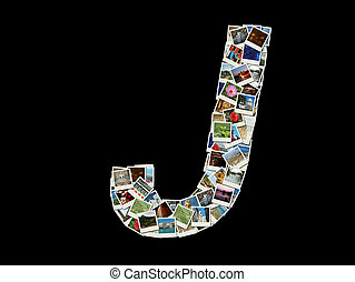"""J"" letter made of travel photos"