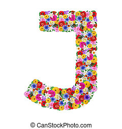 J, letter of the alphabet in different flowers