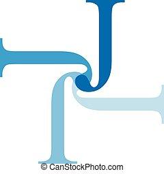 j-, logotipo, ruotato, affari, alfabeto