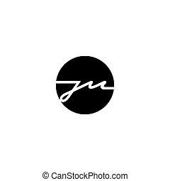 j, m., ilustração, sinal, vetorial, letra