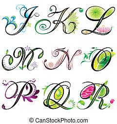 j-r, alphabete, elemente