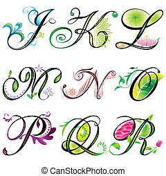 j-r, alphabets, éléments