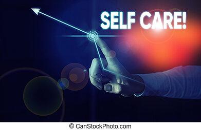 jaźń, technology., własny, nowoczesny, albo, zachowywać, care., dama, pisanie, konceptualny, showcasing, zdrowie, czyn, fotografia, wpływy, pokaz, praktyka, błękitny, handlowy, przód, przedstawiając, futurystyczny, ci, ręka, ulepszać
