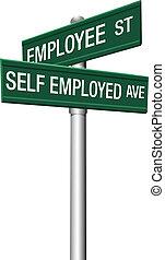 jaźń, uliczne oznakowanie, pracownik, zaangażował do pracy, albo