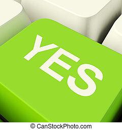 ja, computer sleutel, in, groene, het tonen, goedkeuring,...