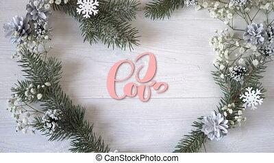 ja kocham was, rocznik wina, pisemny, ożywienie, tekst, na, stilyzed, serce, z, gałąź, na białym, drewniany, tło., kaligrafia, i, tytuł, zakrętas, elementy, dla, valentines dzień, ślub, albo, inny, ferie