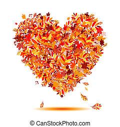 ja, miłość, autumn!, sercowa forma, z, padające listowie