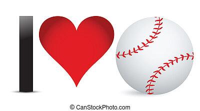 ja, miłość, baseball, serce, z, baseballowa piłka, wnętrze
