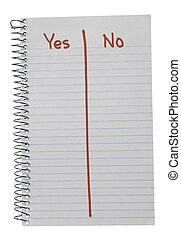 ja, vs., rød, notesbog, nej