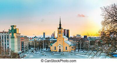 jaani, estonia., panorama, st., kirik, tallinn, igreja, john