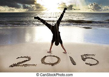 jaar, 2015, nieuw, strand, zonopkomst, vrolijke
