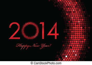 jaar, achtergrond, 2014, nieuw, rood, vrolijke