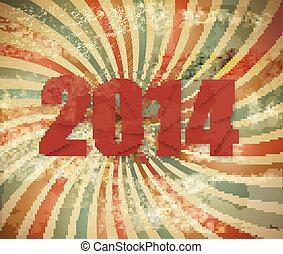 jaar, achtergrond., retro, vector., nieuw, 2014, vrolijke
