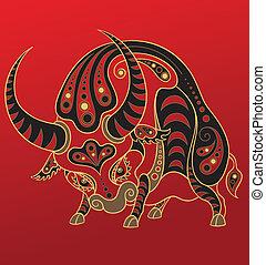 jaar, chinees, horoscope., os