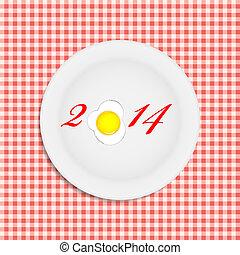 jaar, illustratie, vector, achtergrond, nieuw, 2014