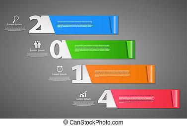 jaar, illustratie, vector, achtergrond, nieuw, 2014, vrolijke