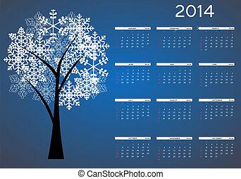 jaar, illustratie, vector, nieuw, 2014, kalender
