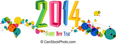 jaar, illustratie, vector, nieuw, 2014, spandoek, vrolijke
