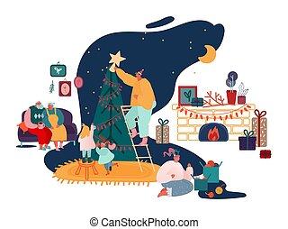 jaar, kerstmis, gezin, vrolijk, openhaard, ouders, set, xmas stelt voor, seizoen, versiering, scenes., carols, zingen, kinderen, illustratie, nieuw, vector, winter, pakking, boompje, viering