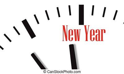 jaar, klok, animatie, nieuw, aftellen
