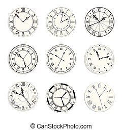 jaar, klok, nieuw, wijzerplaten, iconen, symbool,...