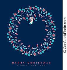 jaar, krans, ornament, hand, nieuw, getrokken, kerstmis