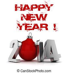 !, jaar, nieuw, 2014, vrolijke , 3d