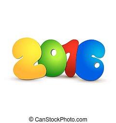 jaar, nieuw, 2016, ontwerp, tekst
