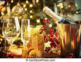 jaar, nieuw, tafel, setting., vakantie, kerstmis viering