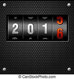 jaar, nieuw, toonbank, 2016, analoog