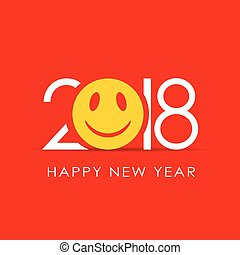 jaar, ontwerp, 2018, glimlachen, nieuw, kaart, vrolijke