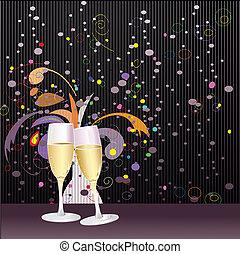 jaar, roosteren, nieuw, champagne