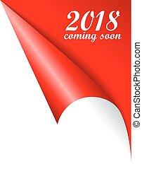 jaar, spoedig, vector, 2018, komst, nieuw, pagina, gekrulde
