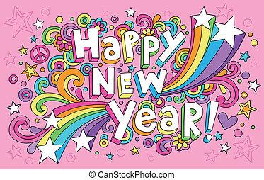 jaar, vector, doodles, nieuw, kaart, vrolijke